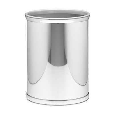 Mylar 13 Qt. Polished Chrome Oval Waste Basket, Silver Metallic - Home Depot