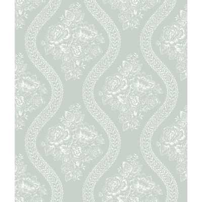 56 sq. ft. Magnolia Home Coverlet Floral Removable Wallpaper, White/Blue - Home Depot