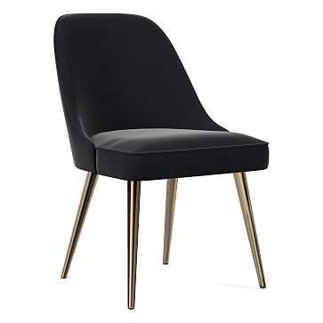 Mid-Century Dining Chair, Metal Leg, Performance Velvet, Shadow, Oil Rubbed Bronze - West Elm