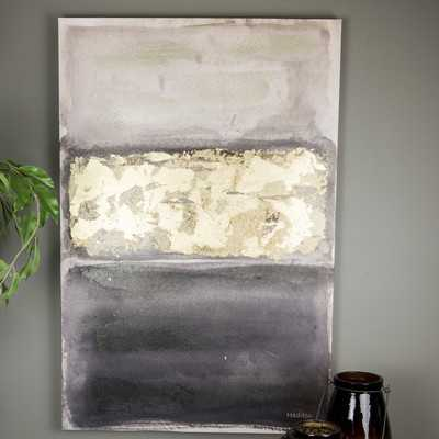 Hadden Spotts Wall Art 'Abstract Black Grey and Gold' Painting Print on Wrapped Canvas - Wayfair