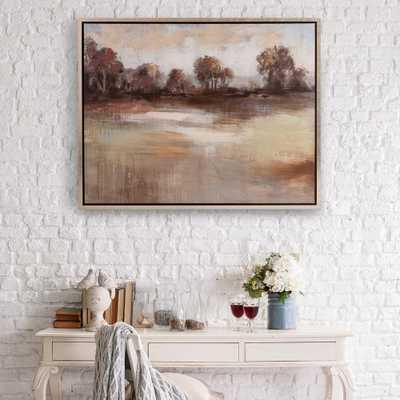 Pastoral Landscpae Framed Canvas Wall Art, Beige - Home Depot
