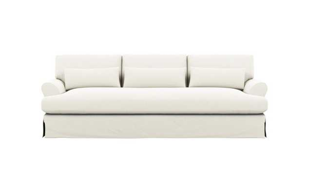 Maxwell Slipcovered Sofa with Ivory Fabric and Oiled Walnut with Brass Cap legs - Interior Define