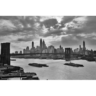 '1940s-1950s Dramatic Sunset Downtown New York City Skyline with Brooklyn Bridge Barges in East River Nyc, NY, USA' Photographic Print on Wrapped Canvas - Wayfair
