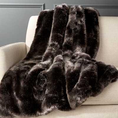 Premium Grey Faux Fur Throw - CB2