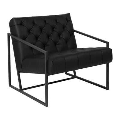 George Oliver Transitional Black Leather Tufted Lounge Chair - Wayfair