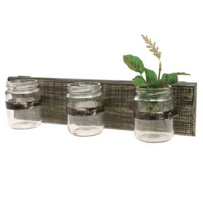 15 in. W Worn Wood Wall Decor with 3 Glass Containers - Home Depot