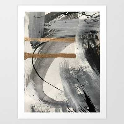 Armor [7]: a bold minimal abstract mixed media piece in gold, black and white Art Print - Small by Blushingbrushstudio - Society6