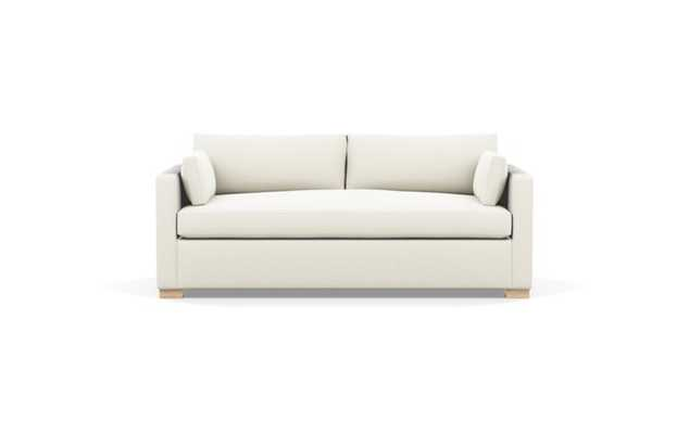 Charly Sleeper Sleeper Sofa with Chalk Heathered Weave double down cushions, and Natural Oak legs - Interior Define