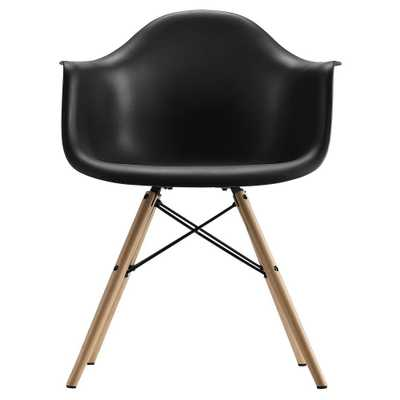 Mid Century Modern Molded Arm Chair With Wood Leg - Black - Dorel Home Products - Target