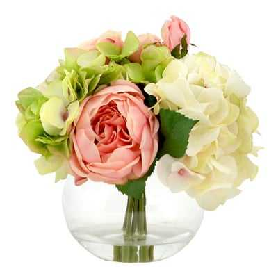 Faux Mixed Bouquet of Peony, Hydrangea and Roses - Birch Lane