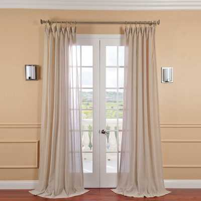 Exclusive Fabrics & Furnishings Tumbleweed Beige Faux Linen Sheer Curtain - 50 in. W x 120 in. L - Home Depot