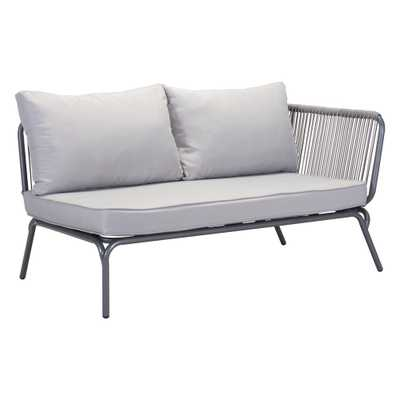 ZUO Pier Gray Wicker Outdoor Patio Loveseat with Gray Cushions - Home Depot