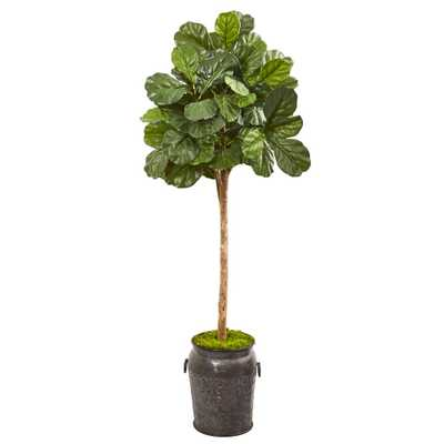 Nearly Natural 6 ft. Fiddle Leaf Fig Artificial Tree in Metal Planter - Home Depot