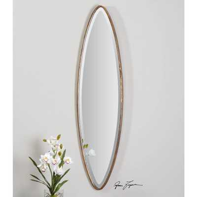 46 in. x 12 in. Antique Gold Oval Framed Mirror - Home Depot
