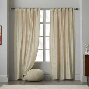 "Cotton Luster Velvet Curtain, 48""x96"", Stone - West Elm"