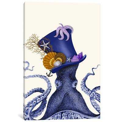 'Octopus Nautical Hat' Graphic Art Print on Canvas - Wayfair