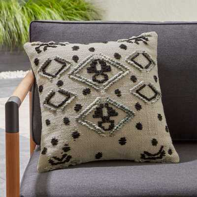 Mohave Embroidered Outdoor Pillow - Crate and Barrel