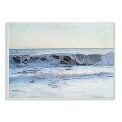 """10 in. x 15 in. """"Coastal Evening Beach Cresting Wave Photograph"""" by Elizabeth Erquhart Wood Wall Art, Multi-Colored - Home Depot"""