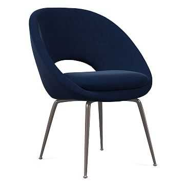 Orb Dining Chair, Antique Bronze Leg, Performance Velvet, Ink Blue, Antique Bronze - West Elm