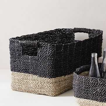Two-Tone Woven Console Basket, Black/Tan - West Elm