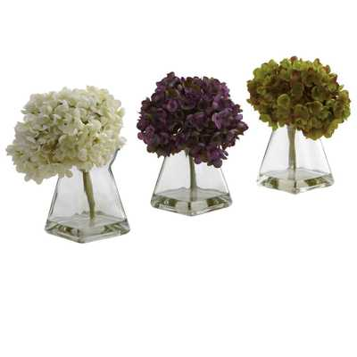 Hydrangea with Vase (Set of 3) - Home Depot