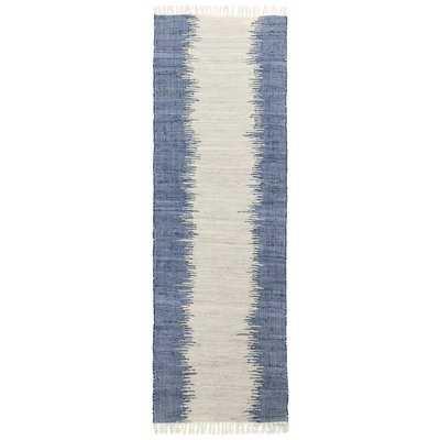 Bruges Jagged Handmade-Flatweave Cotton Blue/White Area Rug - Wayfair