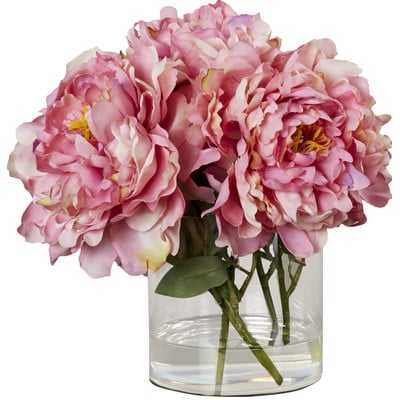 Scollfyld Pink Peony in Acrylic Water Glass Vase - AllModern