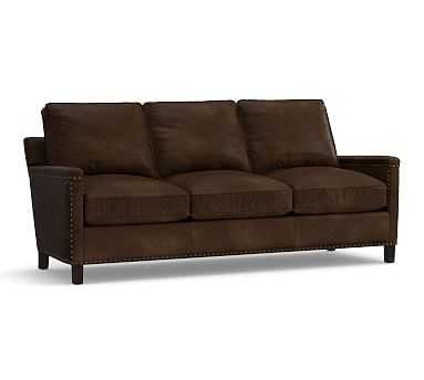Tyler Leather Sofa with Bronze Nailheads, Down Blend Wrapped Cushions, Leather Vintage Cocoa - Pottery Barn