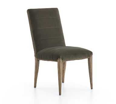 Dorsey Velvet Channel Tufted Dining Chair - Pottery Barn