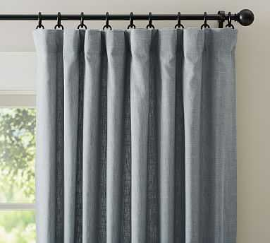 "Emery Linen Poletop Drape, 50 x 96"", Blue Dawn- cotton lining, Blackout - Pottery Barn"