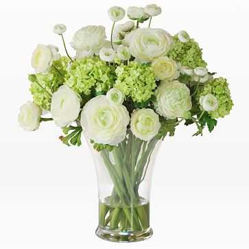 Faux Ranunculus in Large Vase, White + Green - West Elm