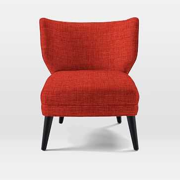 Retro Wing Chair, Heathered Weave, Cayenne - West Elm