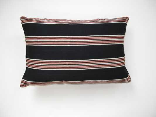 handwoven pink on black stripe pillow - PillowPia
