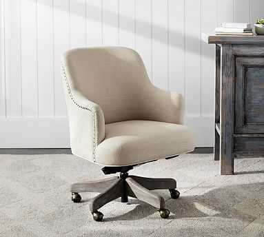 Reeves Upholstered Swivel Desk Chair, Gray Wash Frame, Performance Boucle Oatmeal - Pottery Barn