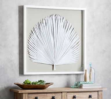 Palm Leaf Shadow Box Art, White, Large - Pottery Barn