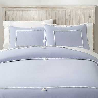Chambray Tassel Duvet Cover, Twin/Twin XL, Peri Blue/White - Pottery Barn Teen