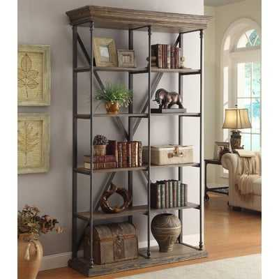 Mabie Medium Brown Etagere Bookcase - Wayfair