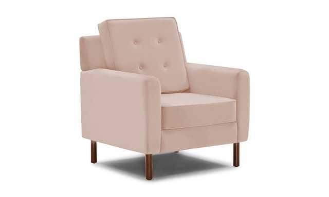 Pink Aami Mid Century Modern Chair - Key Largo Blush - Mocha - Joybird