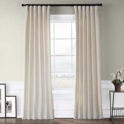 Exclusive Fabrics & Furnishings Heavy Faux Barley Brown Polyester Linen Room Darkening Curtain - 50 in. W x 120 in. L - Home Depot