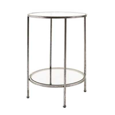 Bella Glass Aged Silver End Table - Home Depot