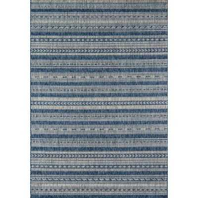 Tuscany Striped Denim Blue/Tan Indoor / Outdoor Area Rug - AllModern
