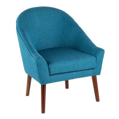 Bacci Walnut and Teal Accent Chair, Blue/Brown - Home Depot