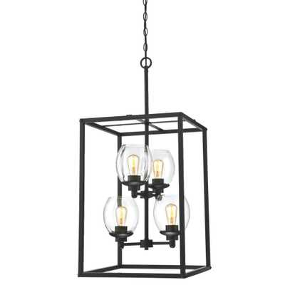 Westinghouse Ardleigh 4-Light Matte Black Chandelier with Clear Glass Shades - Home Depot