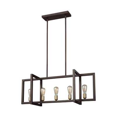 Feiss Finnegan 5-Light New World Bronze Chandelier - Home Depot