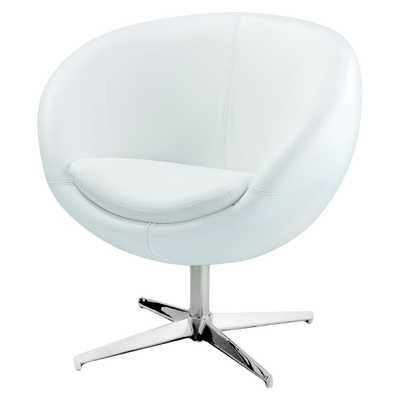 Modern Leather Roundback Chair White - Christopher Knight Home - Target