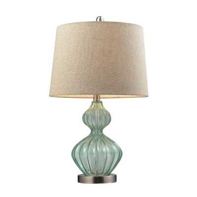 Titan Lighting 25 in. Pale Green Smoked Glass Table Lamp with Metallic Linen Shade - Home Depot