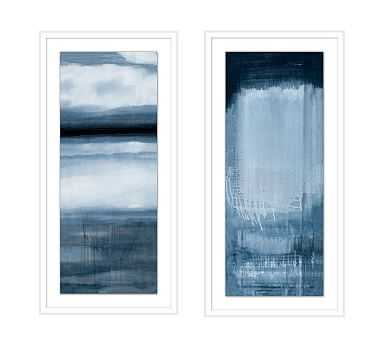 "Blue Colorfield Framed Paper Prints, Set of 2, 17.25"" x 35.25"" - Pottery Barn"