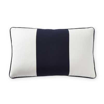 "Sunbrella Outdoor Wide Stripe Lumbar Pillow Cover, 14"" X 22"", Navy - Williams Sonoma"
