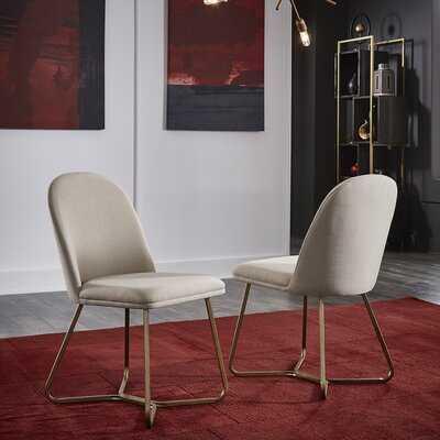 Gold Finish Beige Fabric Dining Chair (Set Of 2) - Wayfair
