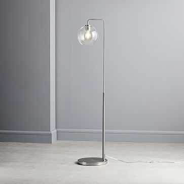 Sculptural Glass Globe Floor, Small Globe, Clear Shade, Nickel Canopy - West Elm
